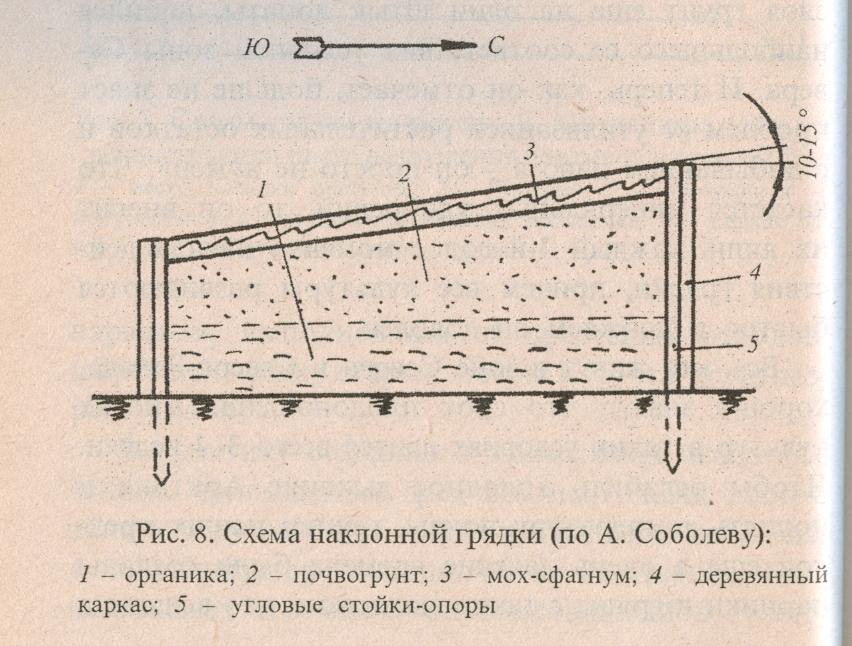 Схема наклонной грядки